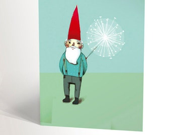 The garden dwarf illustration | Amelie Poulain | gnome with red hat and dandelion | magic | garden and summer | 4,25'' X 5,5''