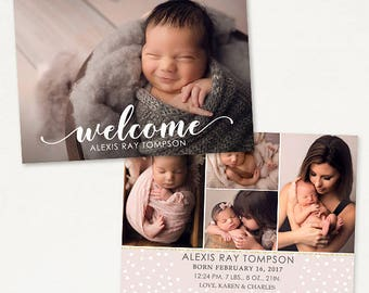 Birth Announcement Template for Photographers - 7x5 Photo Card - Sweet Baby 28, Instant Download