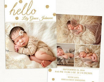 Birth Announcement Template for Photographers - 5x7 Photo Card - Photoshop Template -Sweet Baby 24, Instant Download