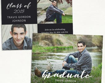 Senior Graduation Announcement Template for Photographers - Graduation Invitation - Grad Card 027, Instant Download