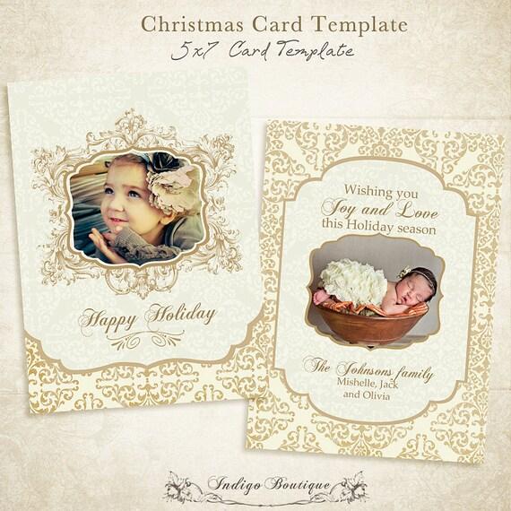Items similar to Christmas Card Template - 5x7 photo card ...