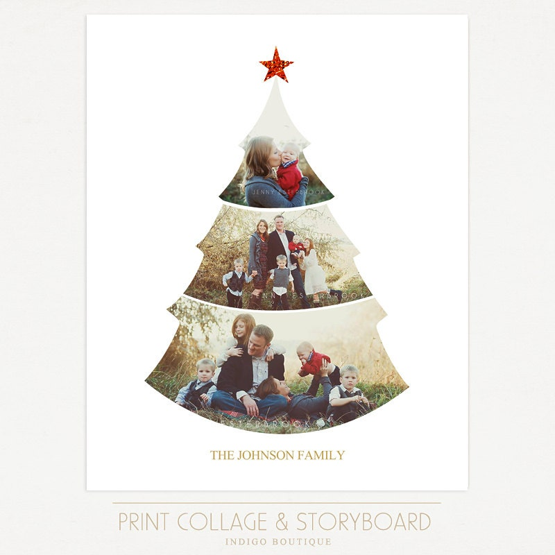 Christmas tree collage template 16x20 print template blog | etsy.