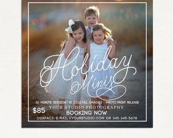 Holiday Mini Session Template - Photography Marketing Board - Holiday Minis - Photoshop Template 020 - ID263, Instant Download