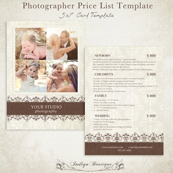 Photographer Price List Photography Package Pricing