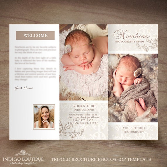 Newborn Photography Trifold Brochure Template Client Welcome