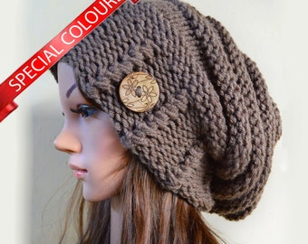 c0a87a45f7c Slouchy beanie hat with button - (Chose color) - Oversized - chunky -  handmade - vegan friendly - baggy - Under 50