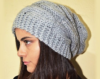 bda103a0fe1 Slouchy cable style beanie hat - PEARL Gray (Or Choose Color) - womens  chunky - accessories - baggy slouch