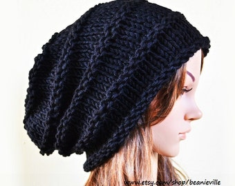 af16289f290 Slouchy beanie - BLACK (Or Choose Color) - ribbed style - slouch - chunky  handmade hat - Unisex men women