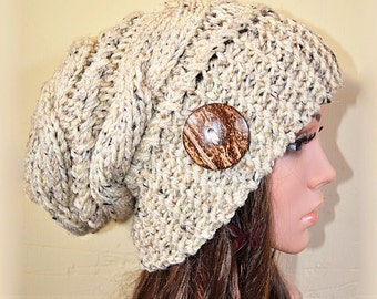 9409fe7d338 Slouchy beanie hat with button -OATMEAL TweeD (or Choose Color) Cable style  - Oversized - chunky - handmade - baggy - gift
