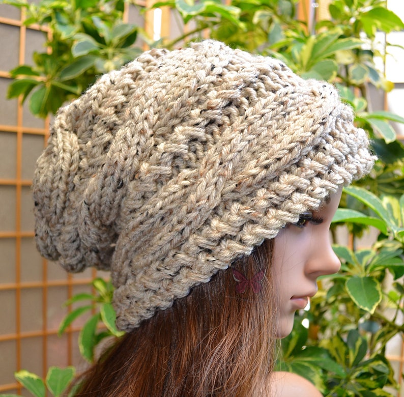 ca35140a1b8345 NEW Slouchy cable style beanie hat OATMEAL TWEED womens | Etsy