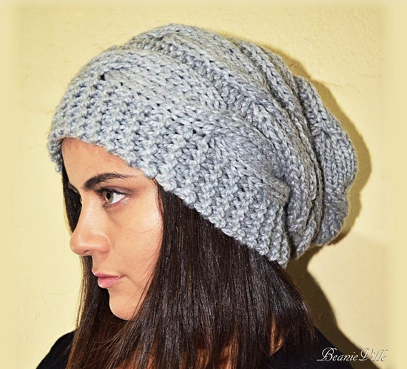 Slouchy cable style beanie hat PEARL Gray Or Choose Color  bd0921970f3