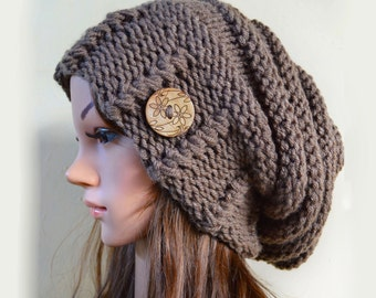 Slouchy beanie hat with button - TAUPE (or chose color) - Oversized - chunky - handmade - vegan friendly - baggy - Under 50