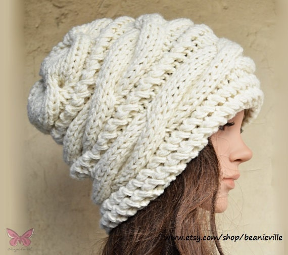 Slouchy cable style beanie hat CREAM or NEW Color Choices  950b89e95e79