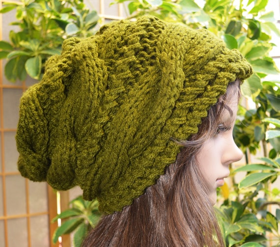 NEW Olive Green Winter Slouchy cable style beanie knit hat  5ce98167a8fe