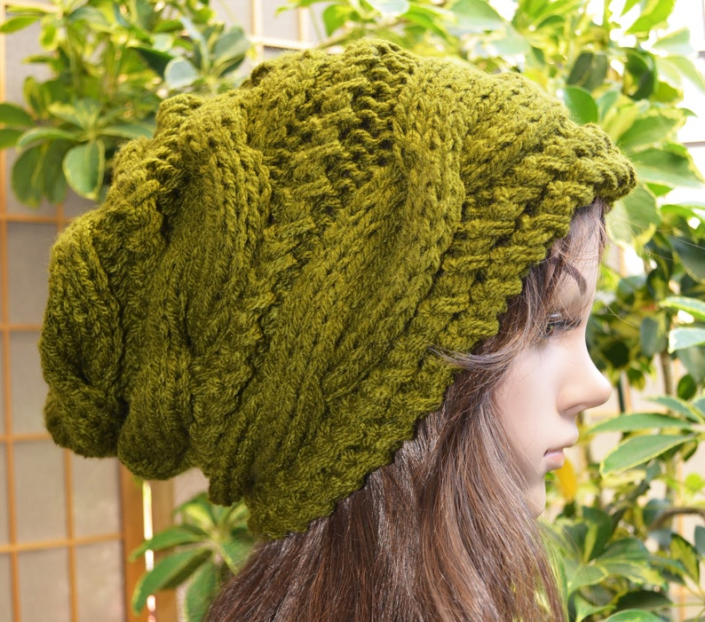 a4c8aa31b NEW Olive Green Winter Slouchy cable style beanie knit hat - womens - baggy  - non allergic - chunky- gift - medium thickness / extra warm