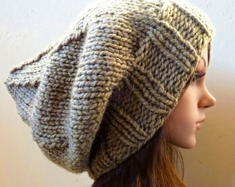 Slouchy beanie Winter hat - Lt Khaki (or Choose Color) - knit - accessories - Wool - slouch - baggy - under 40 - gift