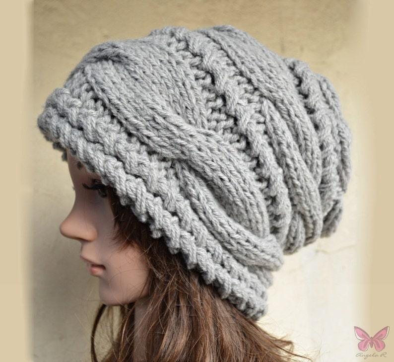 070465448a1 Slouchy cable style beanie hat - GREY - womens chunky - accessories - baggy  slouch - Thick and extra warm