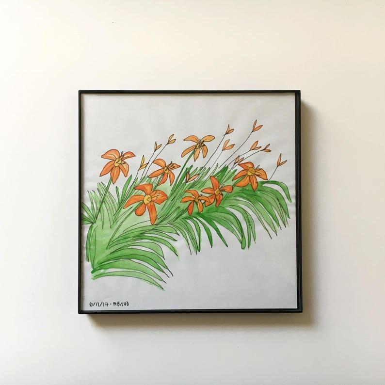 58/100: Day Lilies  original framed watercolor illustration image 0