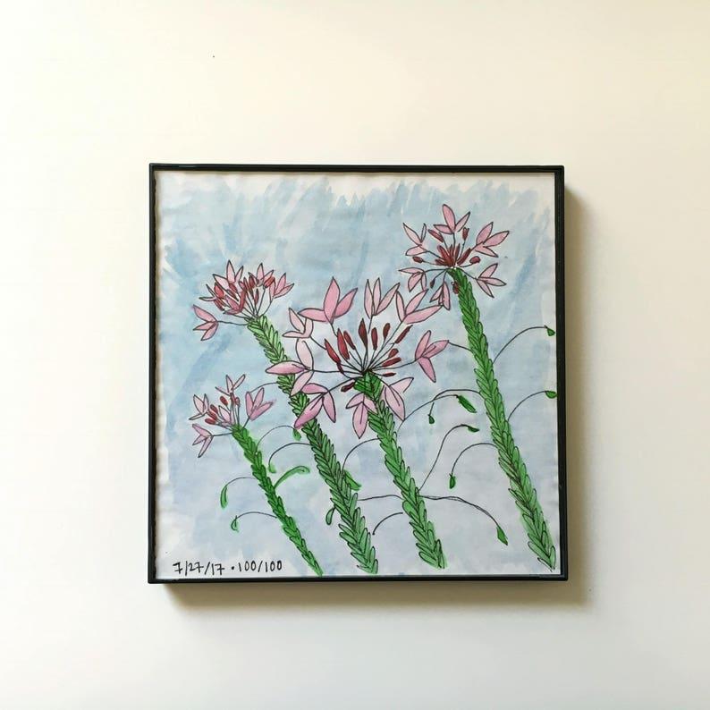 100/100: neighborhood flowers  original framed watercolor image 0