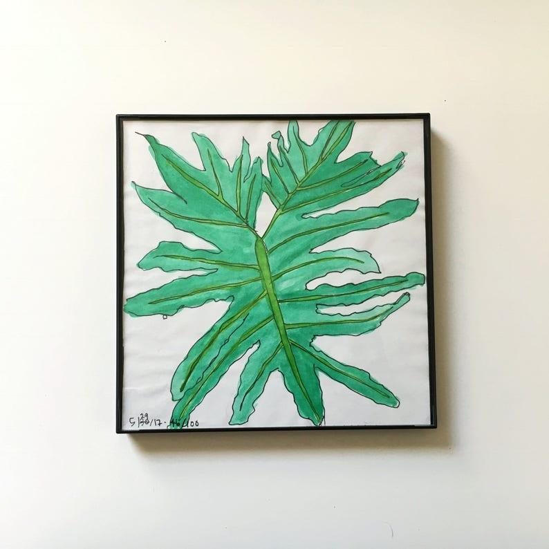 46/100: shop plant  original framed watercolor illustration image 0