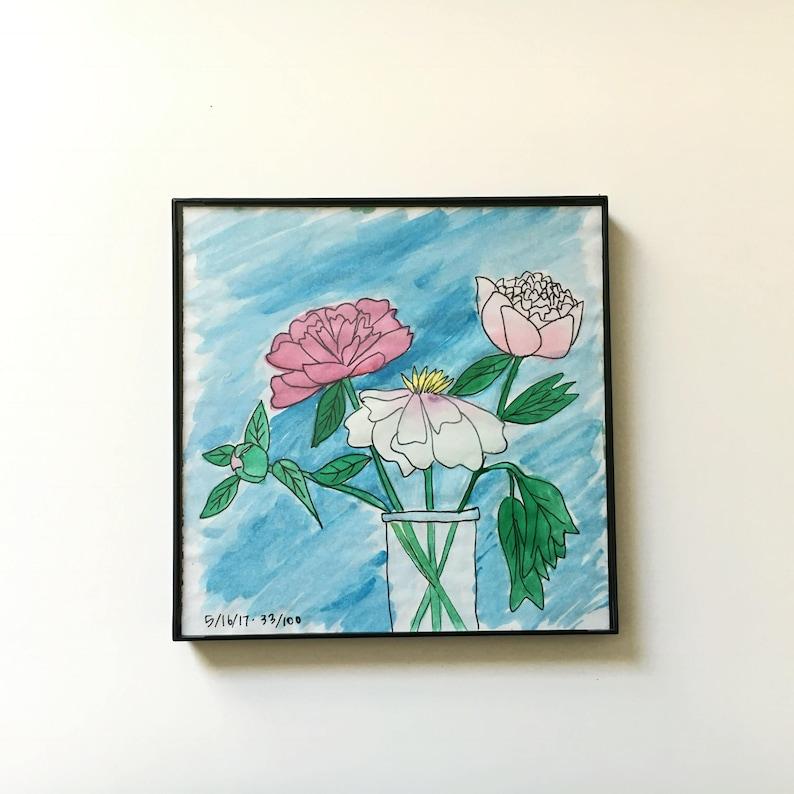 33/100: three peonies  original framed watercolor image 0