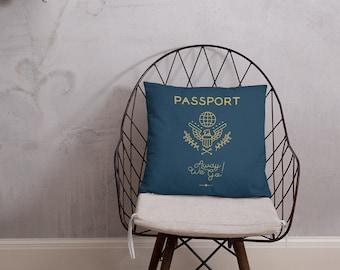 Passport Pillow - Travel Themed Decor Traveler Gift