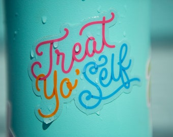 Treat Yo Self Sticker - Parks and Rec water bottle sticker