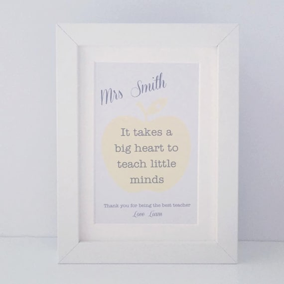I takes a big heart to teach little minds mini personalised | Etsy