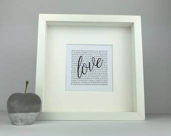 Song lyrics love frame | first dance keepsake | wedding and anniversary gift | personalised gift | first anniversary | fordt dance lyrics