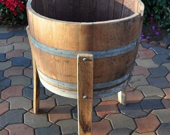 1/2 Wine Oak barrel planter With Legs/ Handmade