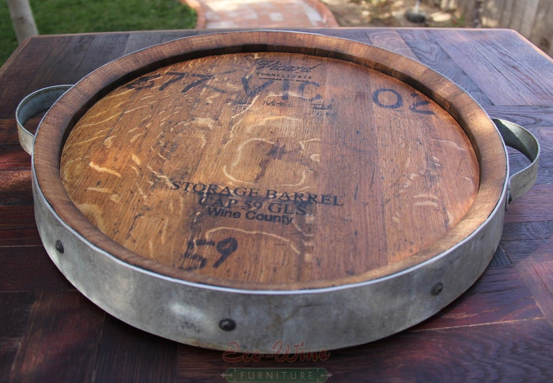 Wine Barrel Lazy Susan Handmade Small image 0