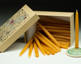 33 Beeswax Taper Candles with Teal Candle Holder