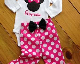 Girls' Personalized Mouse Ruffled Pants Outfit with Bow