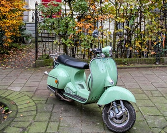 Amsterdam fall photo, scooter parking, fine art Netherlands photography by Falling Off Bicycles, travel photo, wall decor