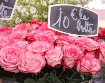 Pink rose bouquet at Paris market, Falling Off Bicycles photography, Paris flower, Valentine's Day photography, Julia Willard