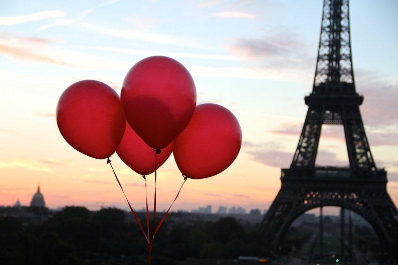 Paris red balloon photo fine art Paris photography Valentine image 0