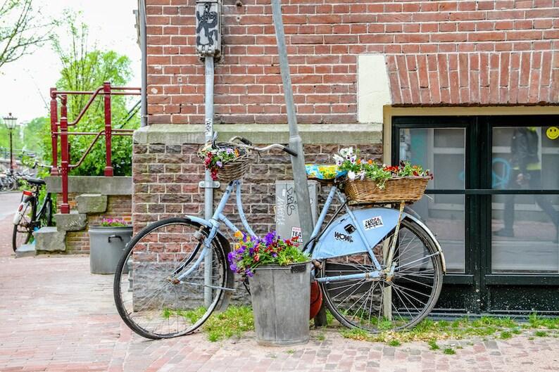 Amsterdam bike photo bike parking spring bicycle photo fine image 0