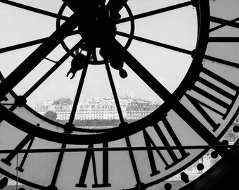Musée d'Orsay clock photo, black and white fine art paris photography, Falling Off Bicycles travel photo