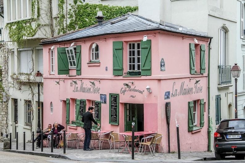 Classic Parisian Maison Rose façade pink restaurant façade image 0