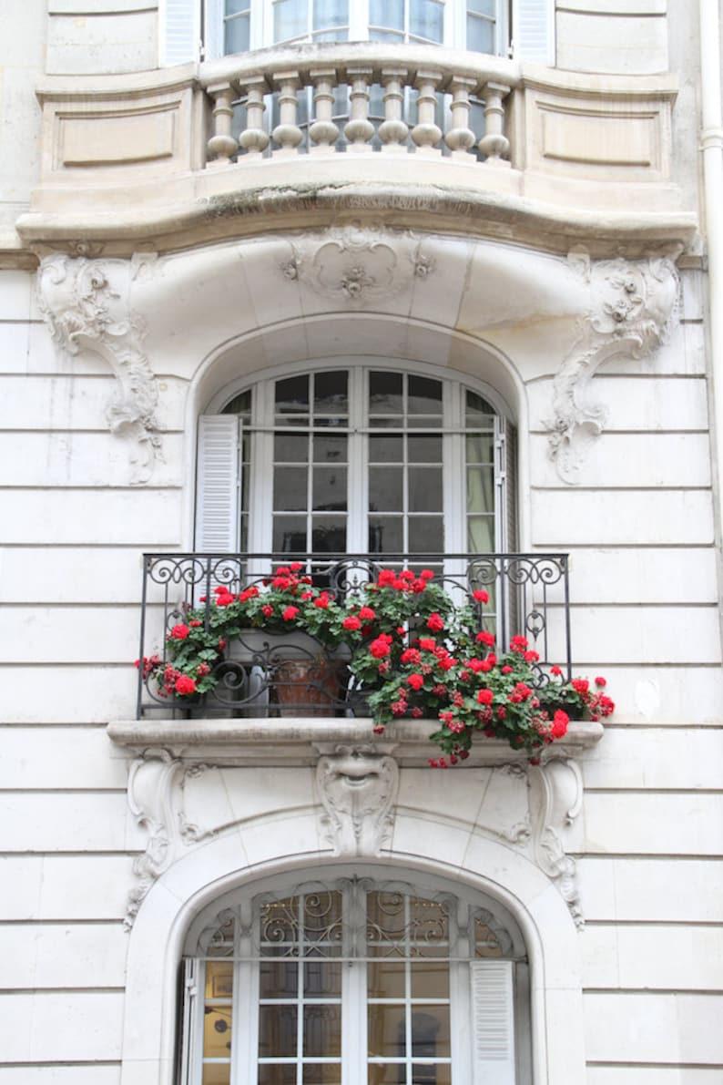 Parisian balcony view Paris flower boxes fine art paris image 0