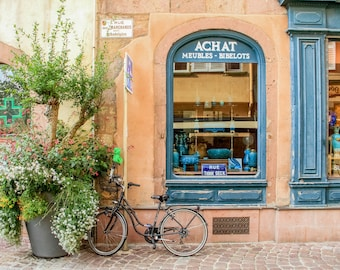 Colorful Colmar Alsace, bicycle photography, France photo, Falling Off Bicycles bike photo, fine art travel photography