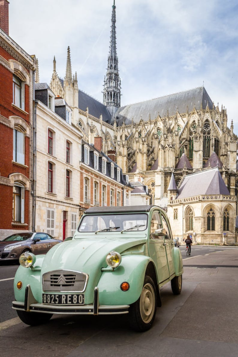 Vintage car in Amiens Falling Off Bicycles fine art France image 0