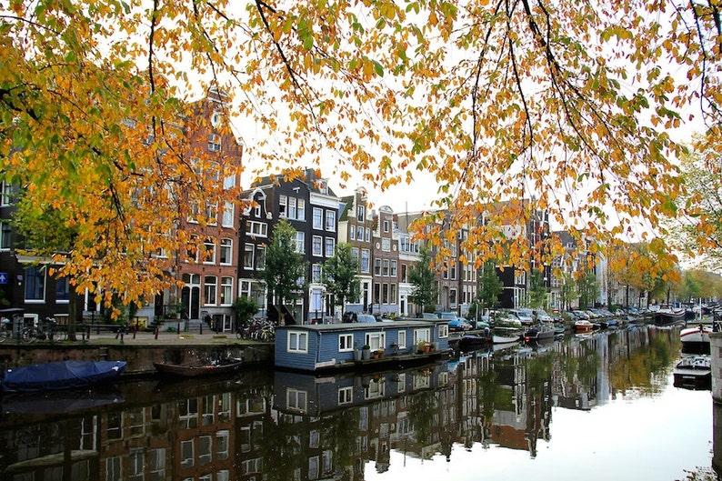 Amsterdam canal photo water reflection image fine art image 0