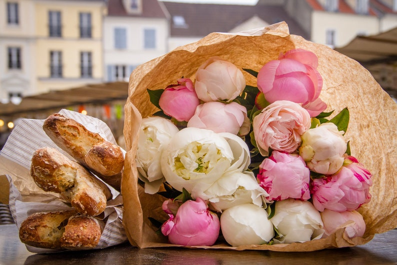 Peonies and coffee in Paris fine art Paris photography image 0