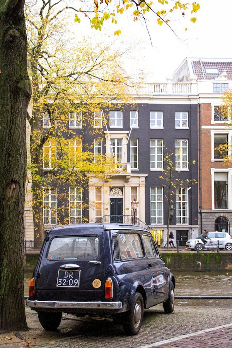 Amsterdam fall photo vintage car parking fine art image 0
