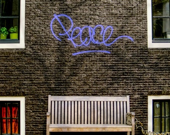 Amsterdam Peace photo, graffiti wall in Amsterdam, fine art Netherlands photography, travel photo, wall decor