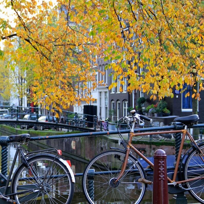 Amsterdam bike photo bike parking fall bicycle photo fine image 0