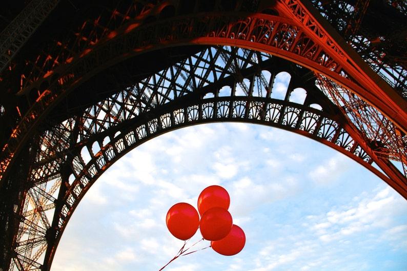 Paris red balloon photo fine art Paris photography birthday image 0