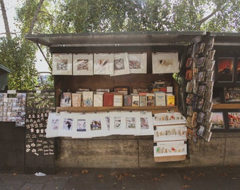Seine bouquiniste bookseller, Falling Off Bicycles fine art Paris photography by Julia Willard, travel photo, wall decor