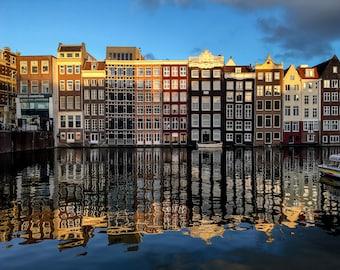 Amsterdam reflection photo, fine art Netherlands photography, Falling Off Bicycles travel photo, Netherlands wall decor